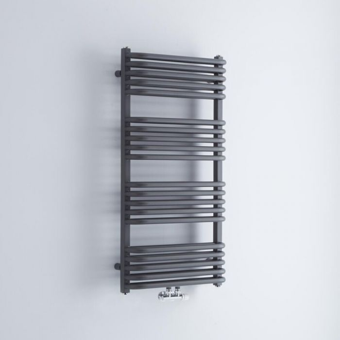 Milano Bow - Anthracite D-Bar Central Connection Heated Towel Rail - 1000mm x 500mm