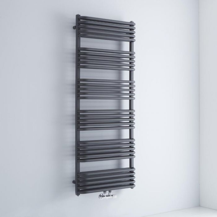 Milano Bow - Anthracite D-Bar Heated Towel Rail - 1533mm x 600mm