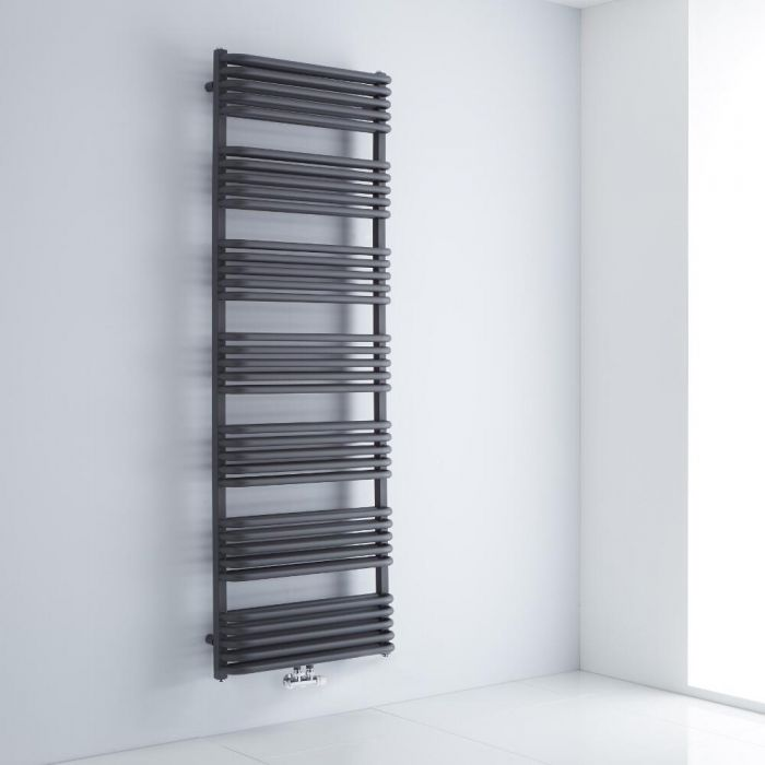 Milano Bow - Anthracite D Bar Heated Towel Rail 1800mm x 600mm