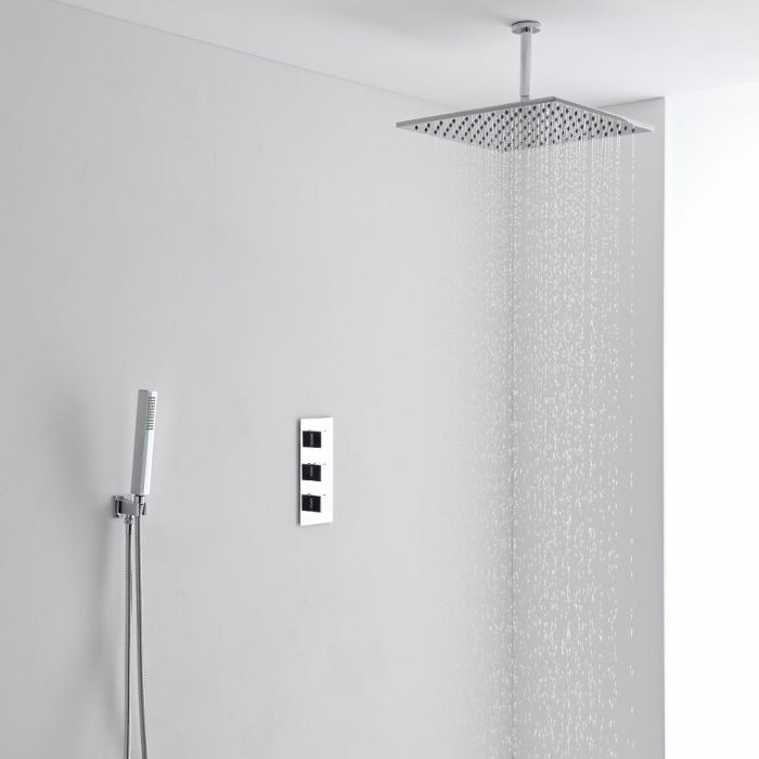 Milano 400mm Square Ceiling Mounted Head, Handset & Thermostatic Shower Mixer Kit