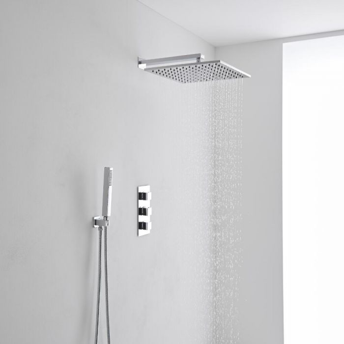 Milano 400mm Square Wall Mounted Head, Handset & Thermostatic Shower Mixer Kit