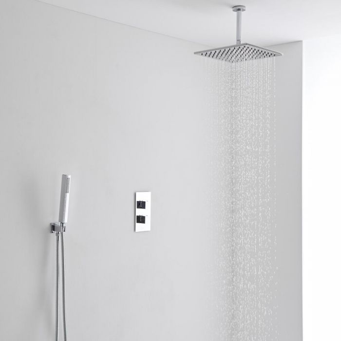 Milano 300mm Square Ceiling Mounted Head, Handset & Thermostatic Shower Mixer Kit