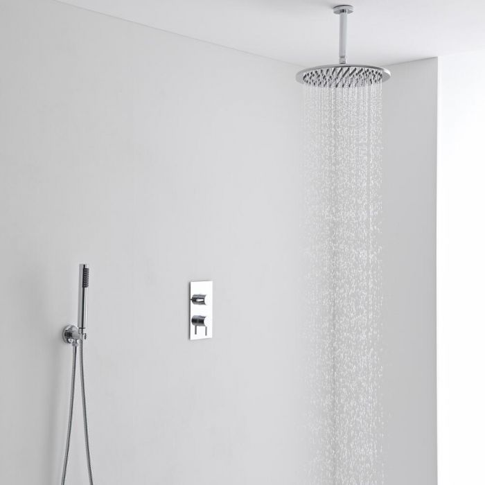 Milano 300mm Round Ceiling Mounted Head, Handset & Thermostatic Shower Mixer Kit