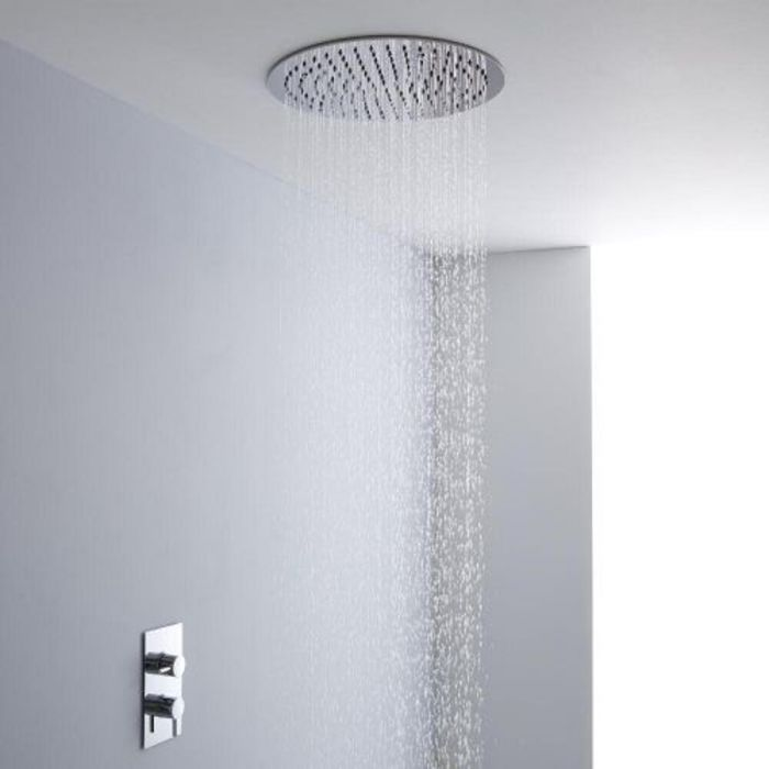 Milano 400mm Large Round Ceiling Tile Fixed Head & Thermostatic Shower Mixer Kit