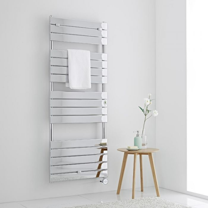 Milano Lustro Electric - Designer Chrome Flat Panel Heated Towel Rail - 1512mm x 600mm