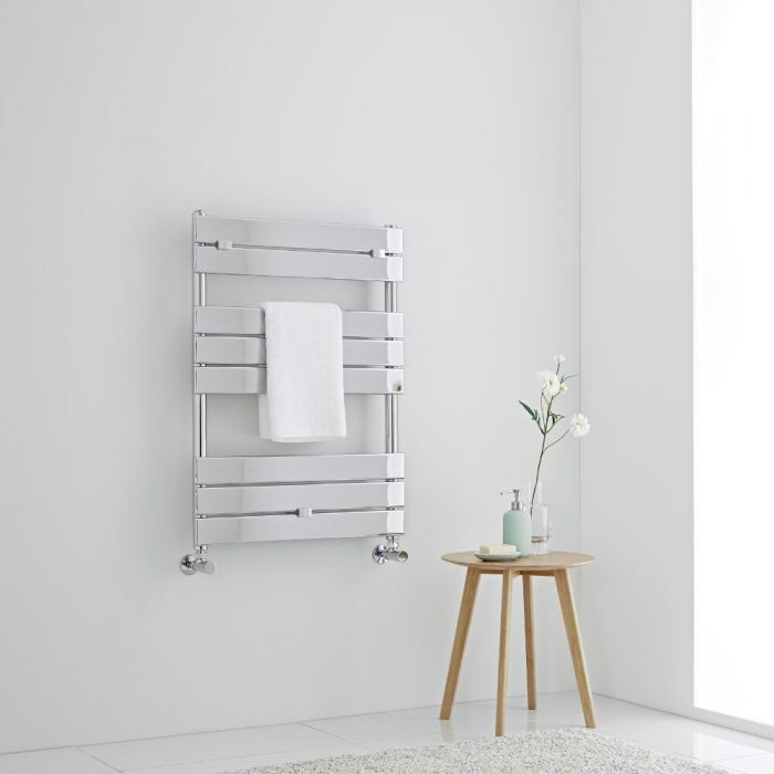 Milano Lustro - Designer Chrome Flat Panel Heated Towel Rail - 840mm x 600mm
