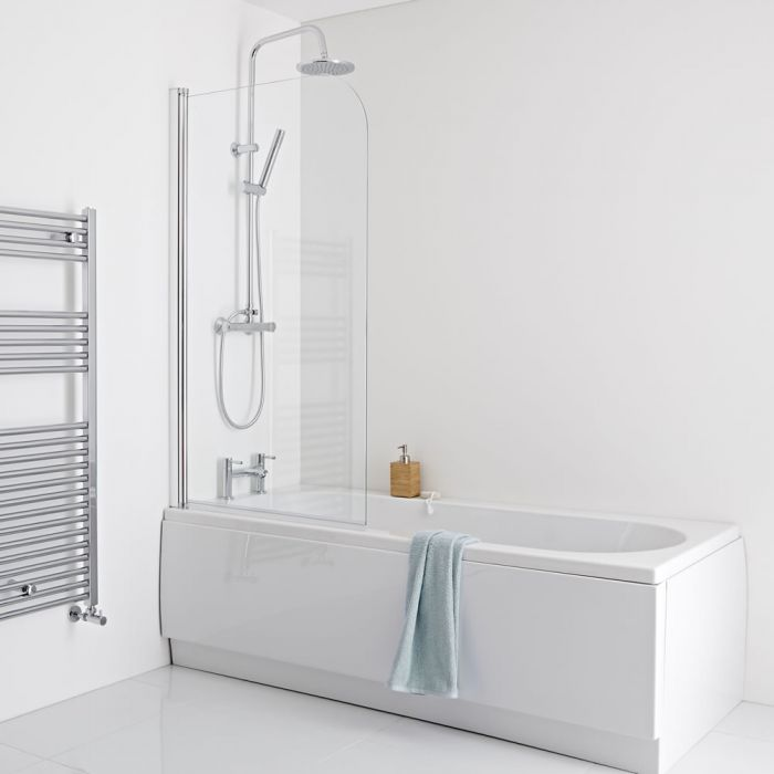 Milano - 1700 x 700mm Straight Shower Bath with Panels and Screen