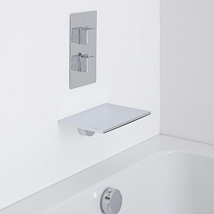 Milano Wall Mounted Waterfall Bath Filler & Square Concealed Thermostatic Shower Valve