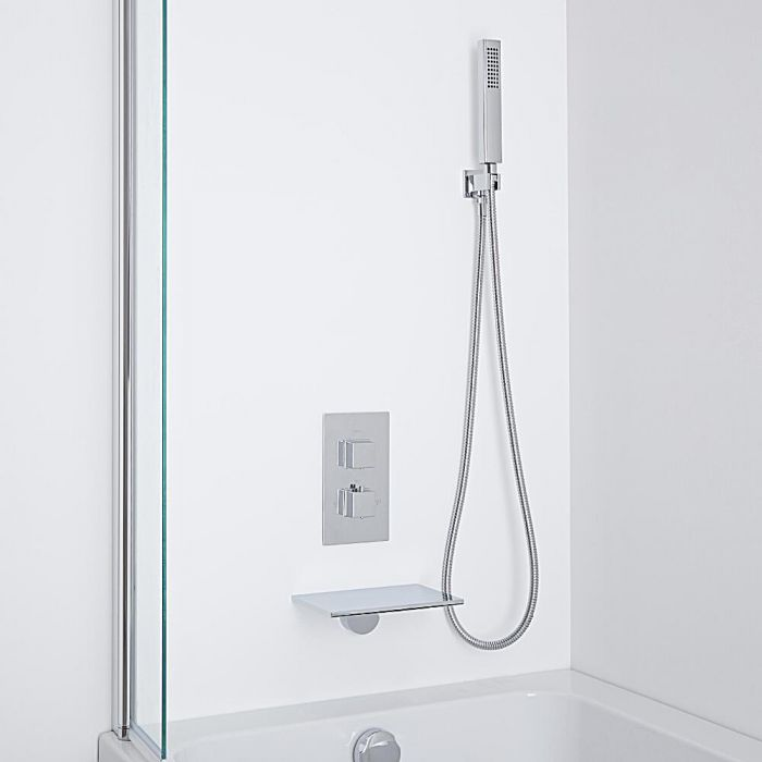 Milano Waterfall Bath Filler With Twin Diverter Thermostatic Shower Valve & Handshower