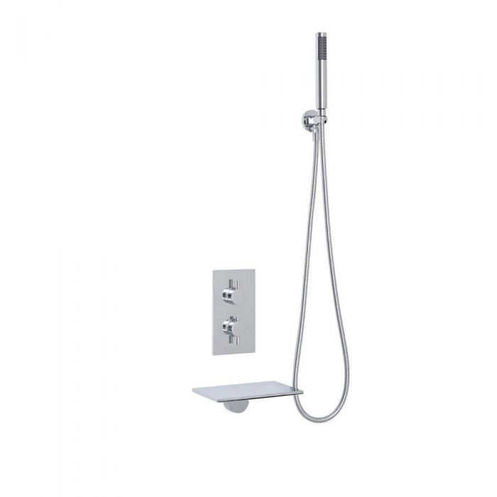 Milano Waterfall Bath Filler With Round Twin Diverter Thermostatic Shower Valve & Handshower
