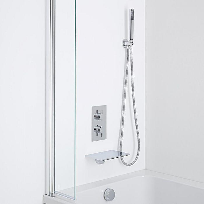 Milano Waterfall Bath Filler With Round Twin Diverter Thermostatic Shower Valve & Handshower