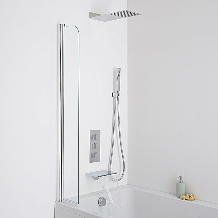 Milano Waterfall Bath Filler With Square Triple Diverter, Thermostatic Shower Valve & Head
