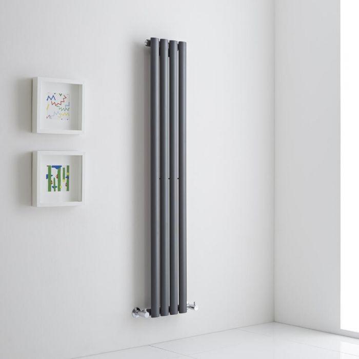 Milano Aruba Aiko - Anthracite Vertical Designer Radiator 1400mm x 236mm (Single)