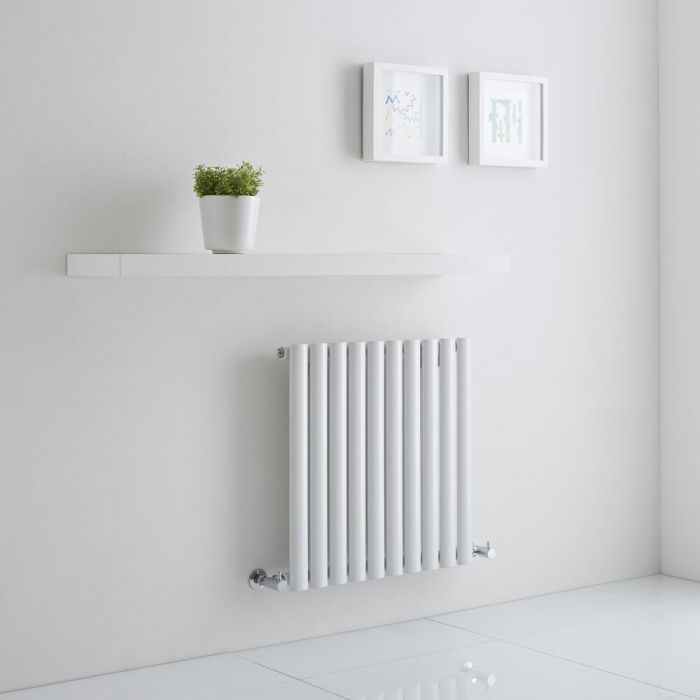 Milano Aruba Aiko - White Horizontal Designer Radiator 600mm x 595mm (Single)