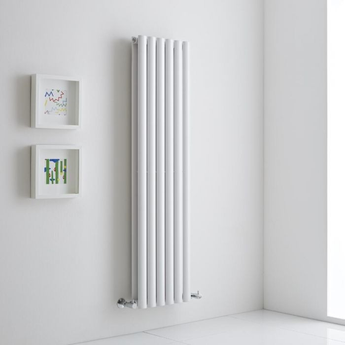 Milano Aruba Aiko - White Vertical Designer Radiator - 1400mm x 354mm (Double Panel)