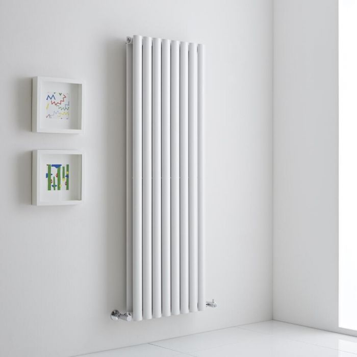 Milano Aruba Aiko - White Vertical Designer Radiator 1400mm x 472mm (Double)