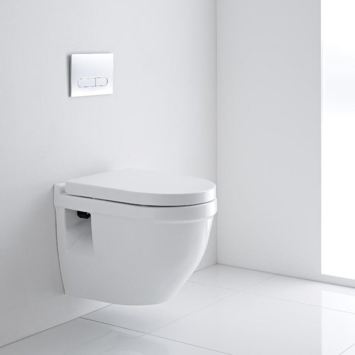 Milano Newby - Oval Wall Hung Toilet with Soft Close Seat