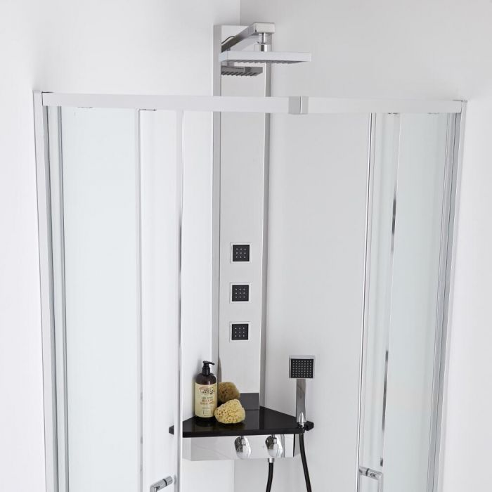 Milano Corner Thermostatic Shower Tower - Chrome