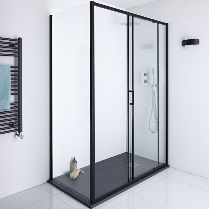 Milano Nero - Black Glass Shower Side Panel - 900mm x 1950mm