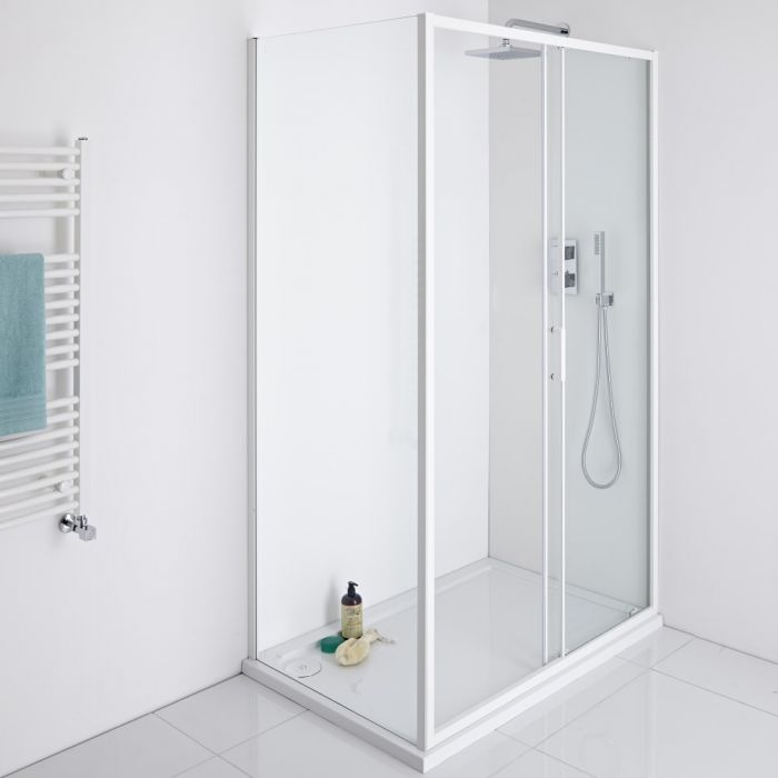 Milano Bianco Glass Shower Side Panel - White - 800mm x 1950mm