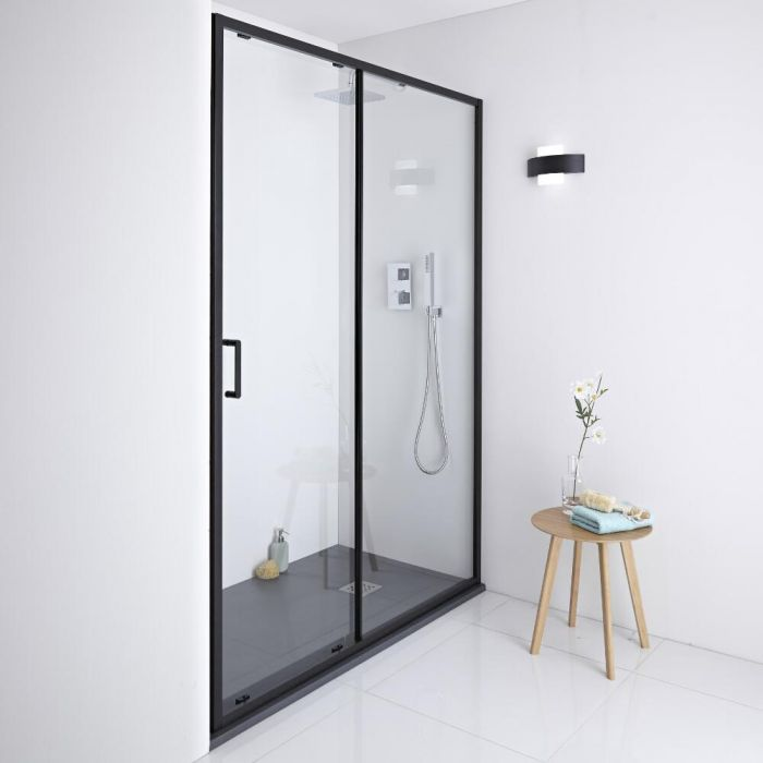 Milano Nero - Black Shower Sliding Door - 1100mm x 1950mm