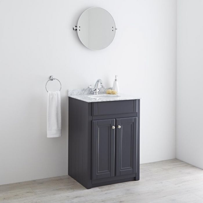 Milano Edgworth - Anthracite and White Traditional 600mmVanity Unit and Basin
