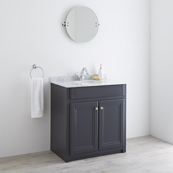 Milano Edgworth - Anthracite and White Traditional 800mm Vanity Unit and Basin (1 Tap-Hole)
