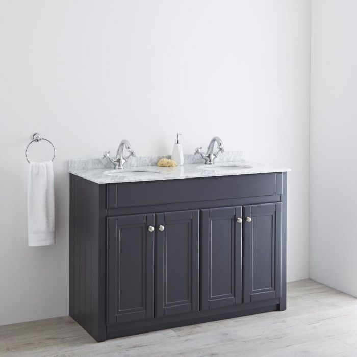 Milano Edgworth - Anthracite and White  Traditional 1200mm Vanity Unit with Double Basin (2 Tap-Holes)