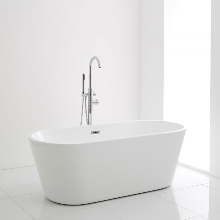 Milano Ballam - White Modern Oval Double-Ended Freestanding Bath - 1695mm x 750mm (No Tap-Holes)