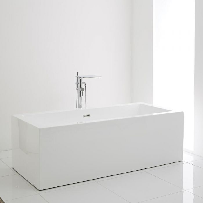 Milano Westby - White Modern Square Double-Ended Freestanding Bath - 1785mm x 790mm (No Tap-Holes)