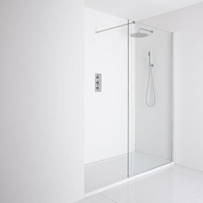 Milano Portland Recessed Walk-In Shower Enclosure (1400 x 800mm) - Inc. Tray