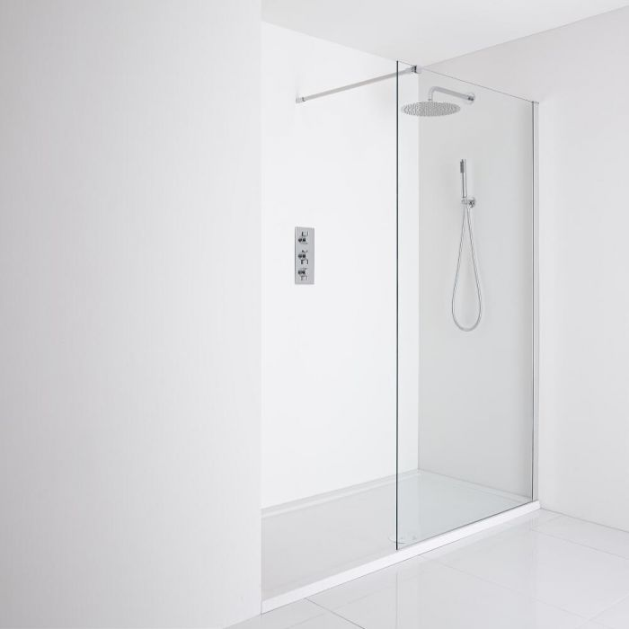 Milano Portland Recessed Walk-In Shower Enclosure (1600 x 800mm) - Inc. Tray