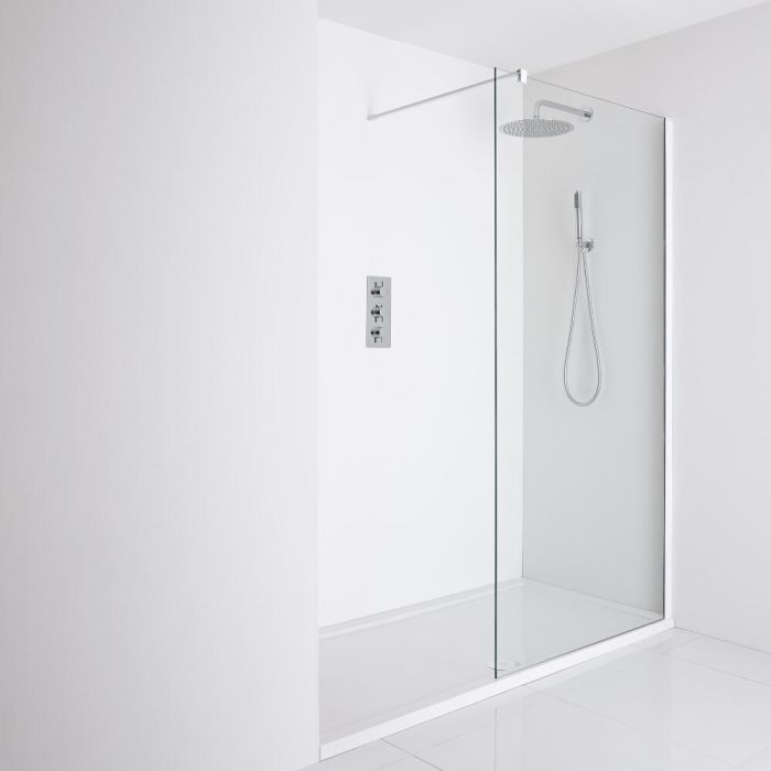 Milano Bianco Recessed Walk-In Shower Enclosure (1600 x 800mm) - Inc. Tray