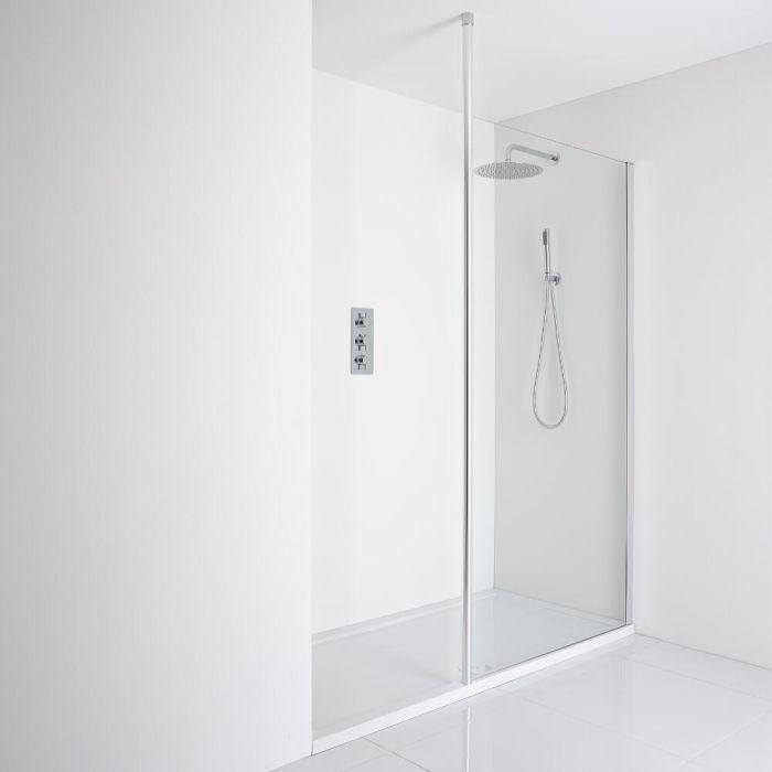Milano Alto Recessed Walk-In Shower Enclosure (1100 x 760mm) - Inc. Tray