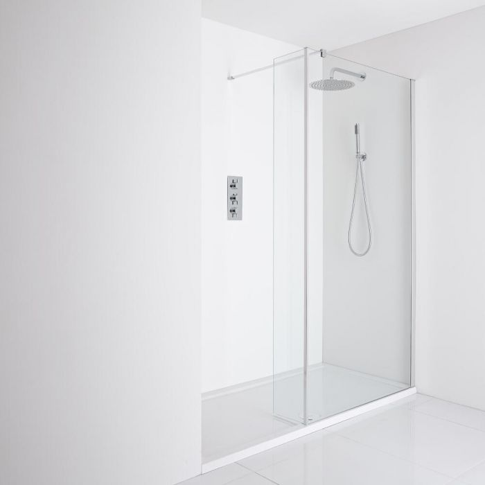 Milano Portland Recessed Walk-In Shower Enclosure (1600 x 800mm) - Inc. Tray & Return Panel