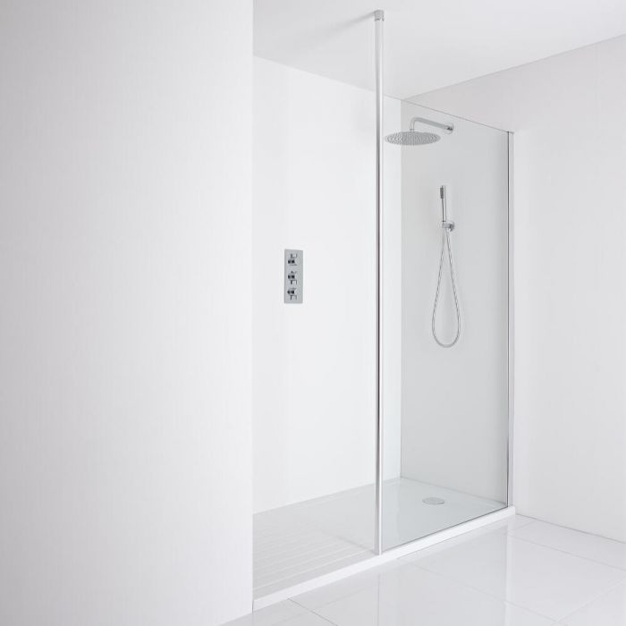 Milano Alto Recessed Walk-In Shower Enclosure (1700 x 800mm) - Inc. Walk-In Tray