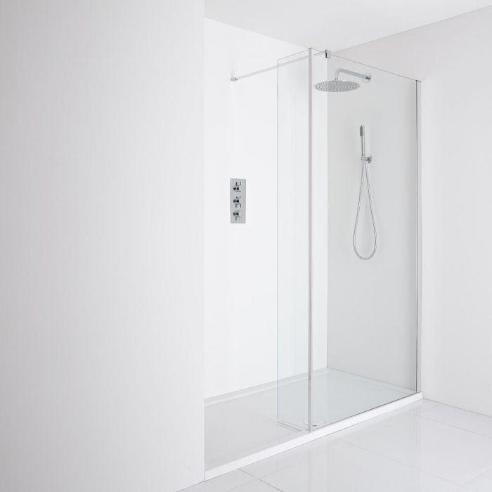 Milano Portland Recessed Walk-In Shower Enclosure (1700 x 800mm) - Inc. Tray & Return Panel
