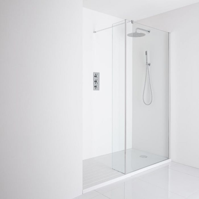 Milano Portland Recessed Walk-In Shower Enclosure (1700 x 800mm) - Inc. Walk-In Tray & Return Panel