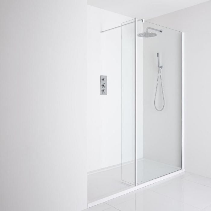 Milano Bianco Recessed Walk-In Shower Enclosure (1400 x 900mm) - Inc. Tray & Return Panel
