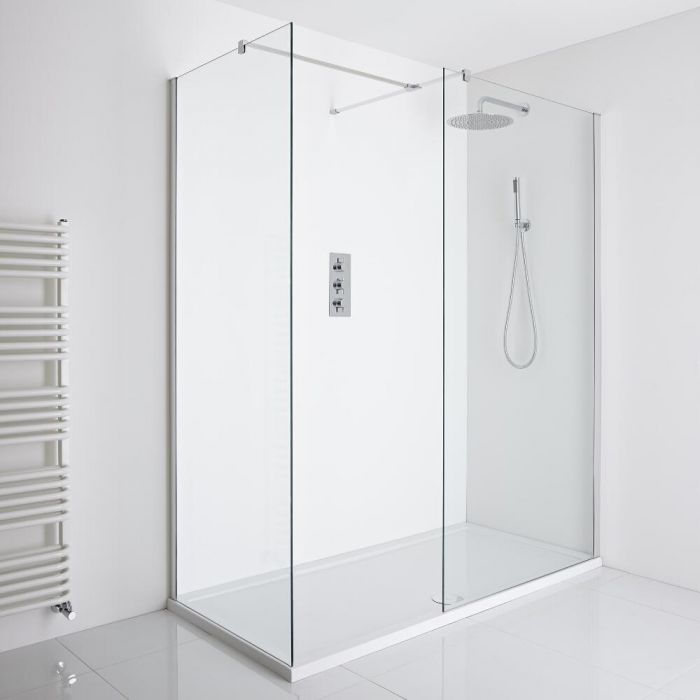 Milano Portland - Corner Walk-In Shower Enclosure (1400 x 900mm) - Inc. Tray