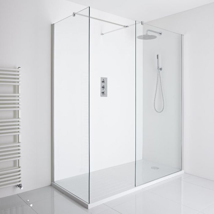 Milano Portland Corner Walk-In Shower Enclosure (1600 x 800mm) - Inc. Walk-in Tray