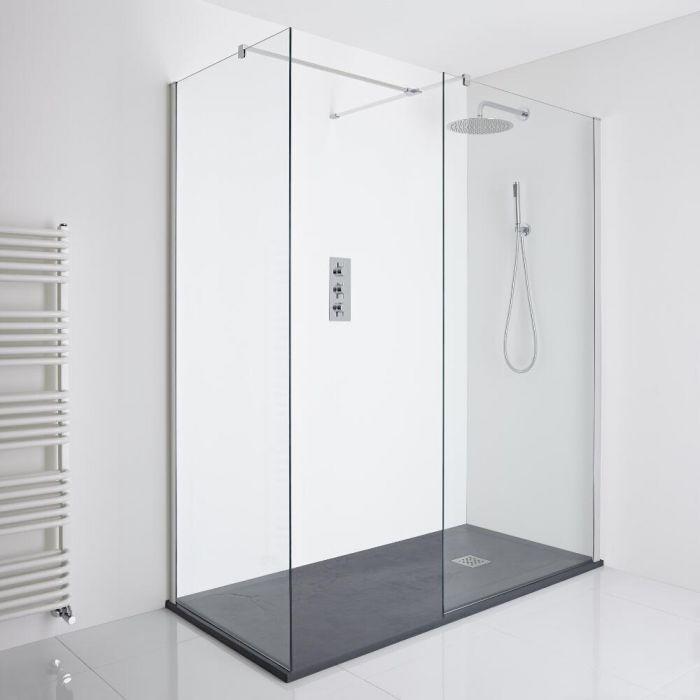 Milano Portland Corner Walk-In Shower Enclosure (1700 x 900mm) - Inc. Slate Tray