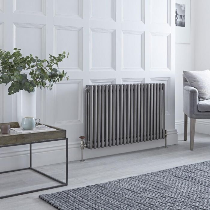 Milano Windsor - Traditional Lacqured Raw Metal Vertical Column Radiator - 600mm x 1013mm (Triple Column)