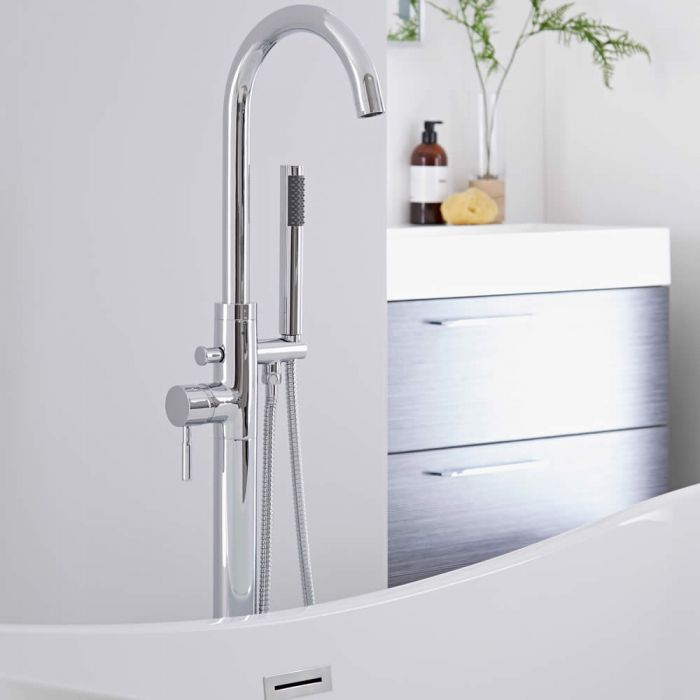 Milano - Modern Floor Standing Bath Shower Mixer Tap including Hand Shower - Chrome