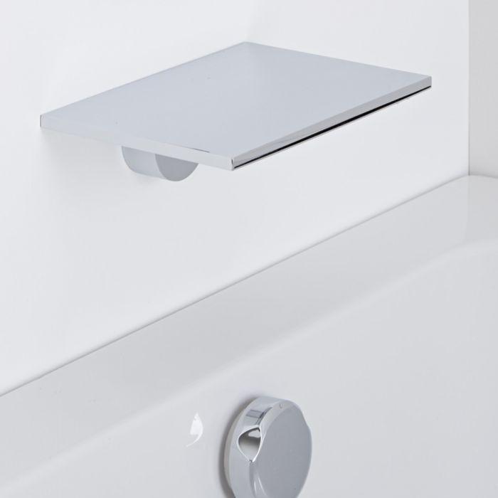 Milano Blade - Modern Wall Mounted Waterfall Bath Filler Spout - Chrome