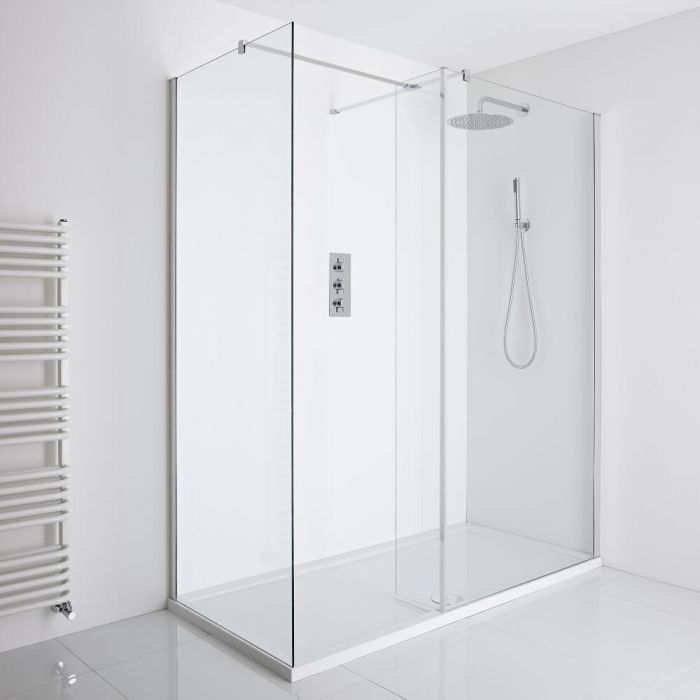 Milano Portland Corner Walk-In Shower Enclosure (1400 x 900mm) - Inc. Tray & Return Panel