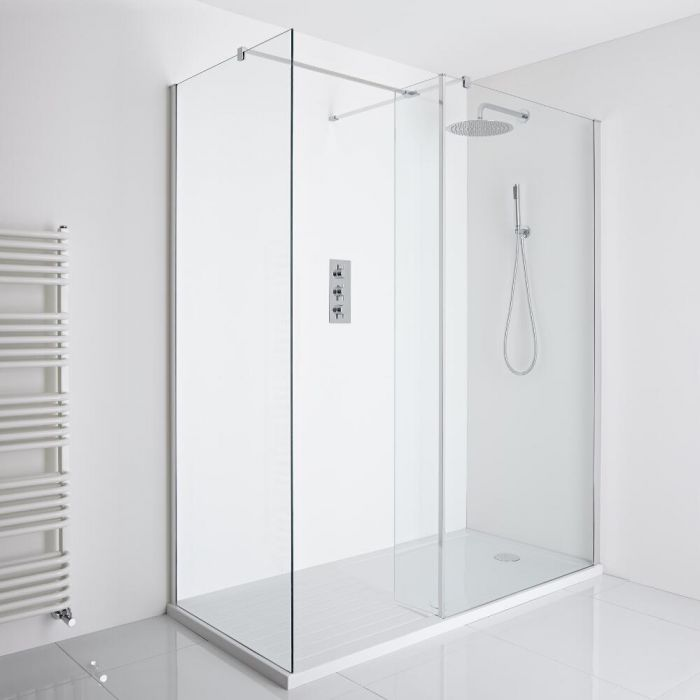 Milano Portland Corner Walk-In Shower Enclosure (1700 x 800mm) - Inc. Walk-in Tray & Return Panel