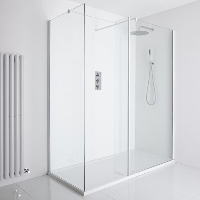 Milano Bianco Corner Walk-In Shower Enclosure (1700 x 800mm) - Inc. Tray & Return Panel