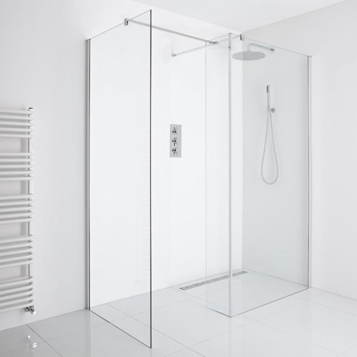 Milano Portland Corner Wet-Room Shower (900mm x 800mm Glass) - Inc. Drain & Return Panel