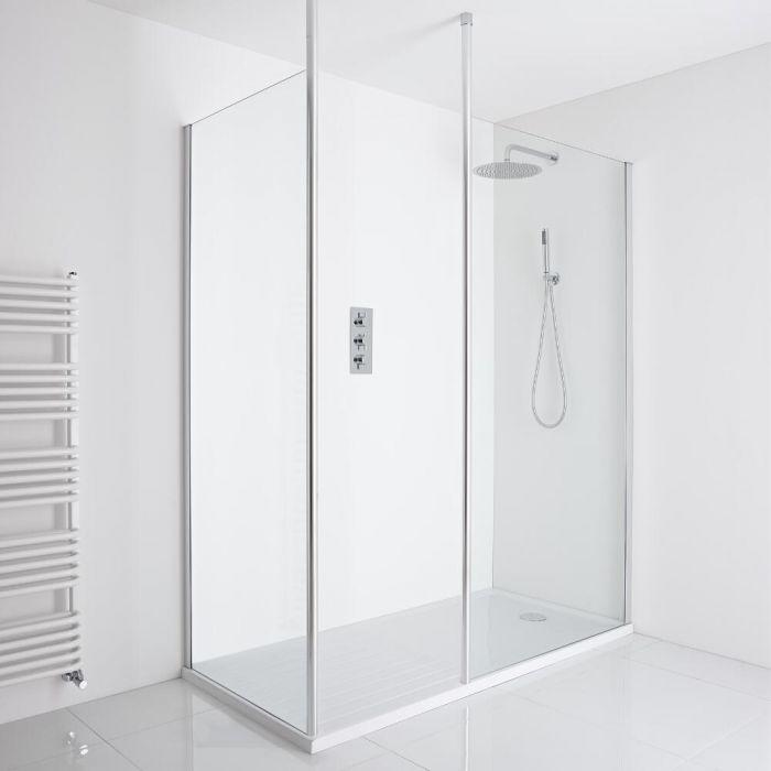 Milano Alto Corner Walk-In Shower Enclosure (1700 x 800mm) - Inc. Walk-In Tray
